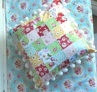 Patchwork Pillow w/ Pom-Pom's