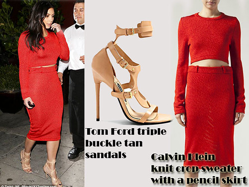 Red Calvin Klein knit crop sweater with a pencil skirt & Tom Ford triple buckle tan sandals