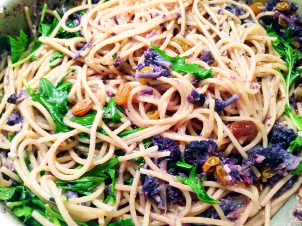Spaghetti with Purple Cauliflower Sauce - Amateur Gourmet