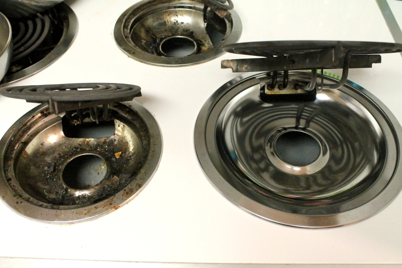 Easily clean drip pans, before & after