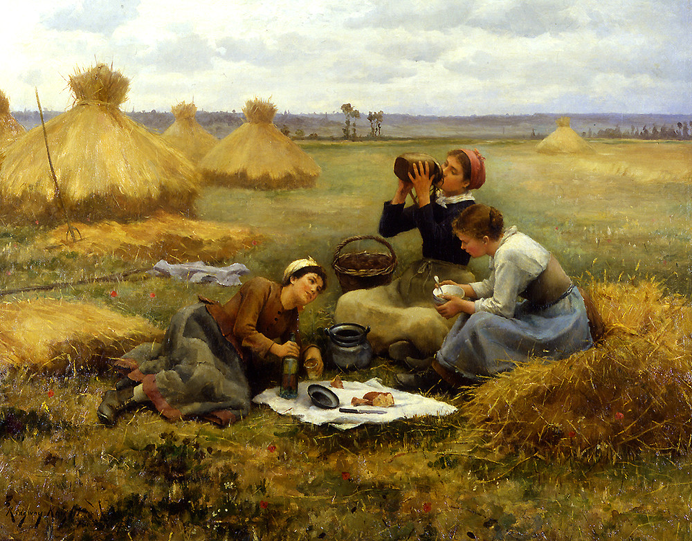 Breakfast in the Fields by Daniel Ridgway Knight - 1884