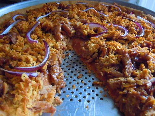 BBQ Soy Curl Pizza (after baking)