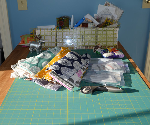 Cutting the Stained Quilt - on my new table