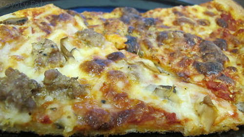 Sausage & mushroom pizza and cheese pizza slices by Coyoty