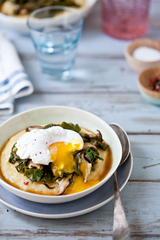 Polenta With Russian Kale, Shitake Mushrooms & Poached Egg