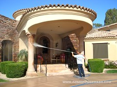 Pressure washing a custom home in Paradise Valley, AZ by ACME POWERWASH