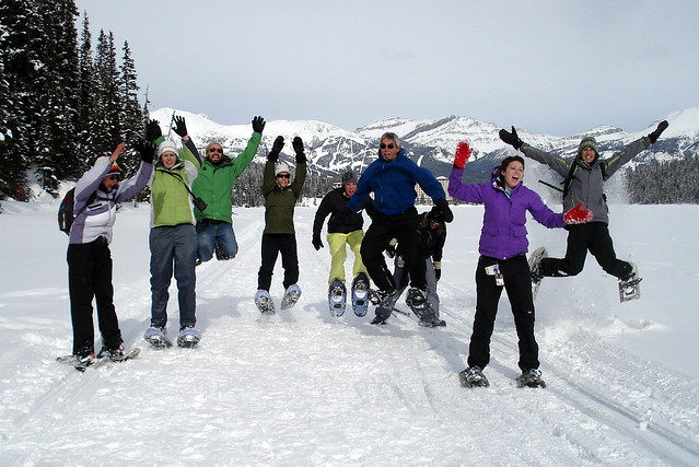Lake Louise Snowshoers jump for joy