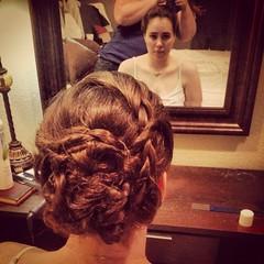 hairstyle(1.0), chignon(1.0), bun(1.0), hair(1.0), brown hair(1.0),
