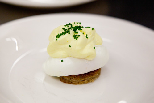 Chef Shaun Hergatt's first poached egg dish: Poached Egg with Crouton and Hollandaise