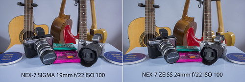 Comparison between SIGMA 19mm f/2.8 and ZEISS 24mm f/1.8 SONY NEX-7 @ f/22