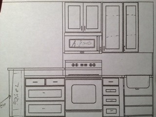 New kitchen - sketch of left wall