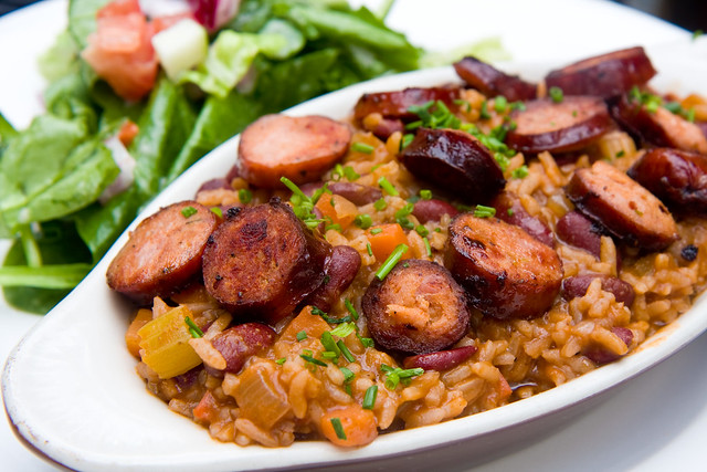 Red beans and rice with andouille sausage, Maggie Brown