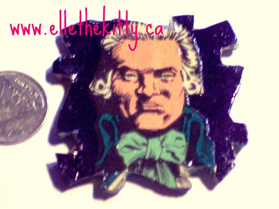 robbespierre handmade art pin from recycled sandman comic