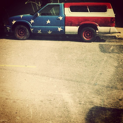 red white and blue truck