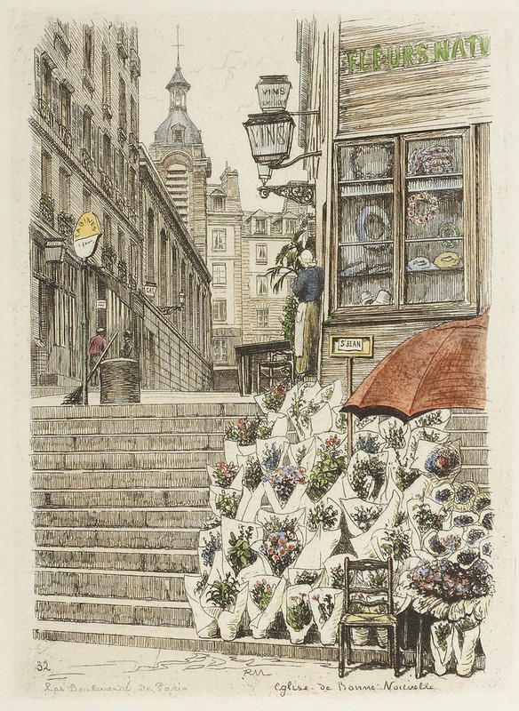 P Martial's engraving of Paris florist and city scape 1877