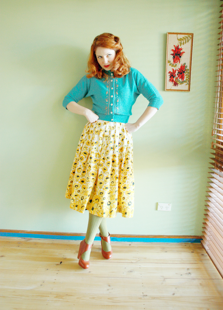 vintage blue cardigan yellow skirt a