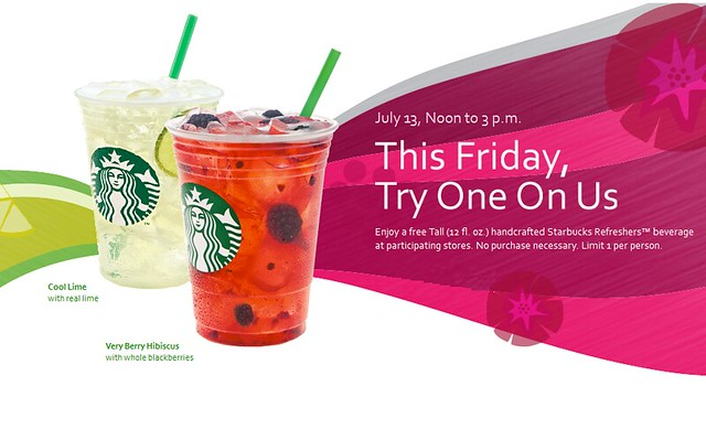 REMINDER: FREE Starbucks Refreshers Today