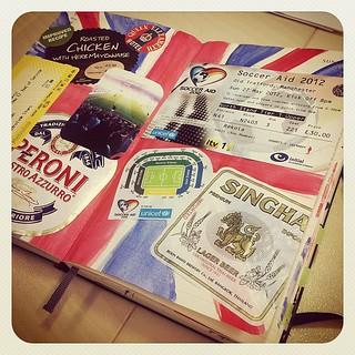 Soccer Aid 2012 / journal spread on Moleskine daily diary