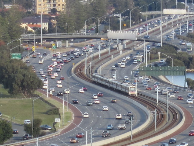 Kwinana Freeway, Perth (viewed from Kings Park)