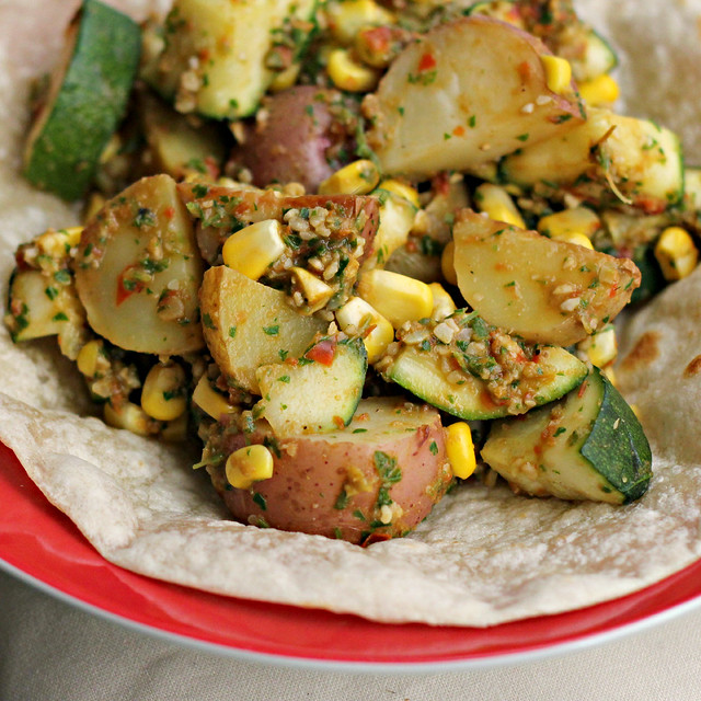 Roasted Potatoes, Zucchini and Corn Tostadas with Romesco Sauce (food ...