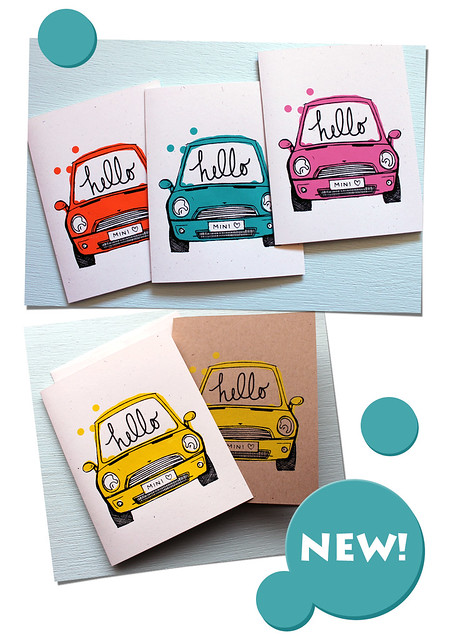 hello mini cooper card stationery vitamini