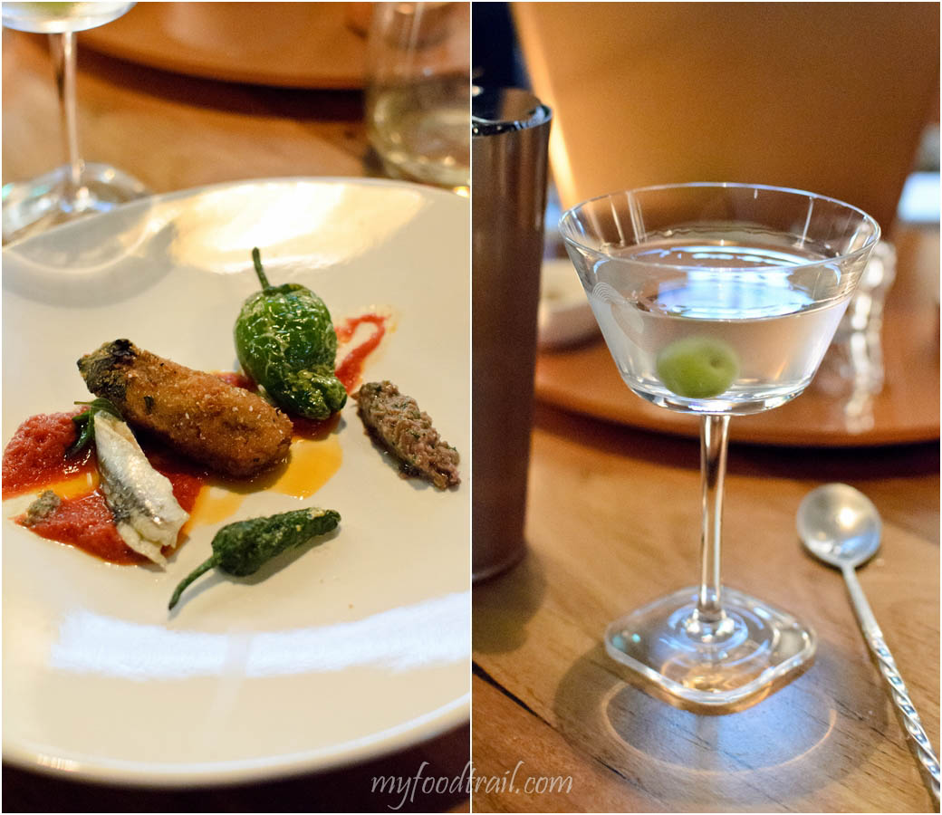 Absolut Elyx Launch - Absolut Elyx martini with Melanzane, Bocquorones, Padron peppers