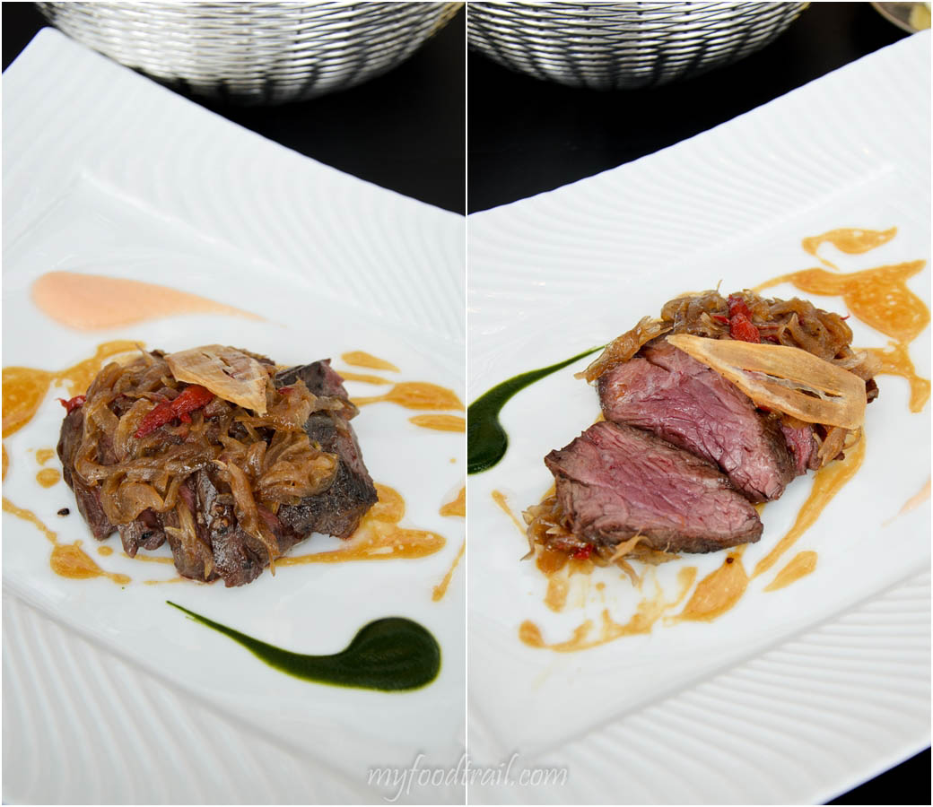Joel Robuchon au Dome, Macau - Hanger steak with sauteed shallots