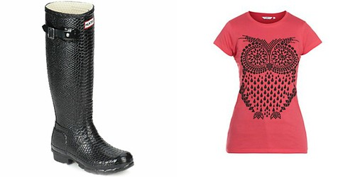 hunter wellies, owl t-shirt