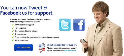 You Can Tweet or Facebook us for Support by AnswerFirst
