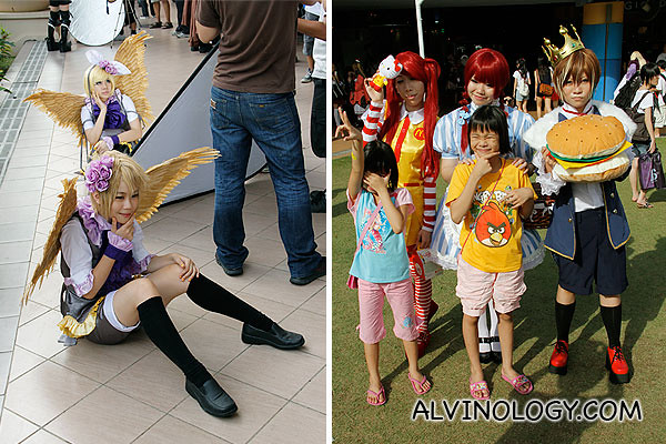 Left: Golden wings; Right: Fastfood inspired cosplayers