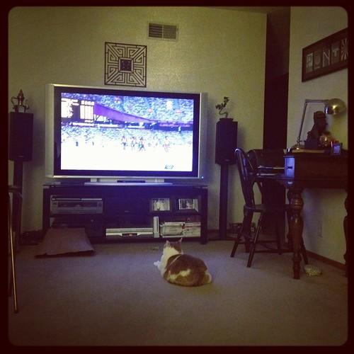 Tanzi watching Track and Field