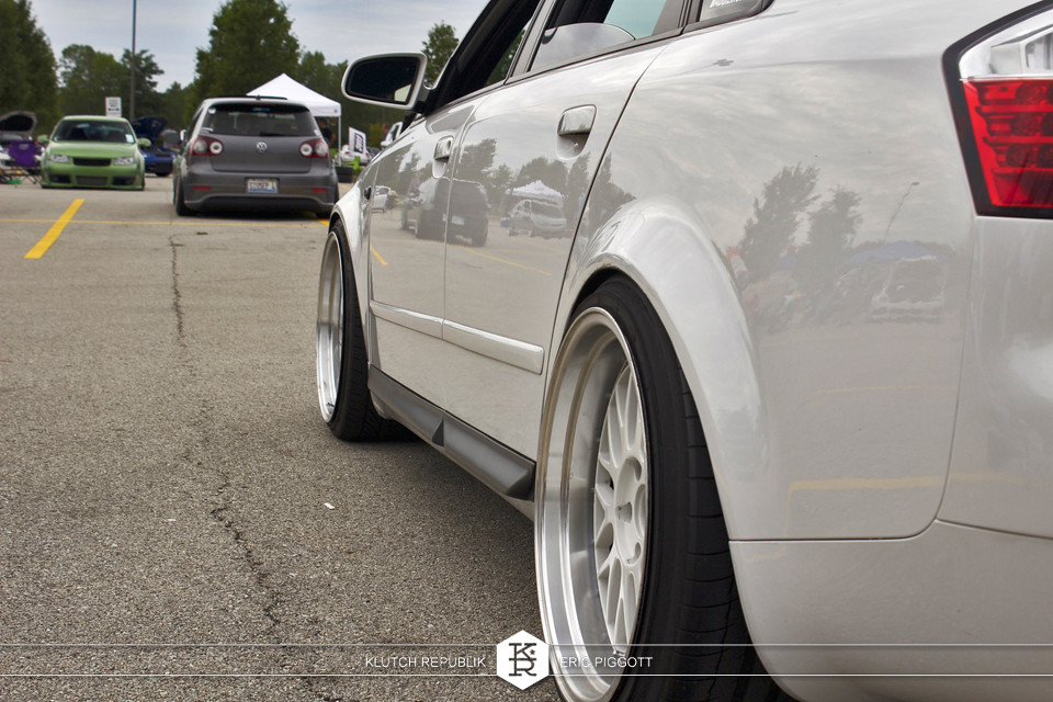 white audi b6 a4 s4 at midwest treffen 2012 3pc wheels static airride low slammed coilovers stance stanced hellaflush poke tuck negative postive camber fitment fitted tire stretch laid out hard parked seen on klutch republik