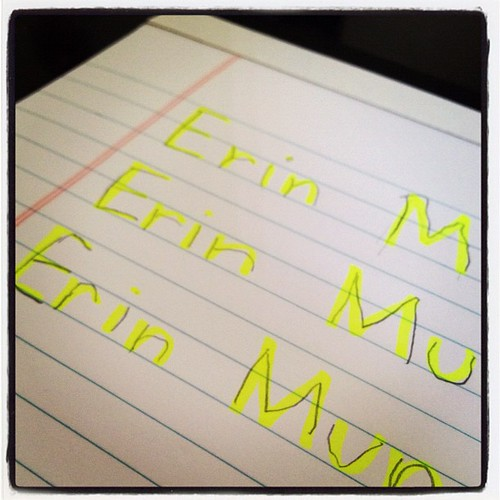 My baby practicing to write her real name #handwriting #erin #writing #name