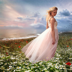 [フリー画像素材] 人物, 女性, ワンピース・ドレス, 人物 - 花・植物, 人物 - 海 ID:201208261400