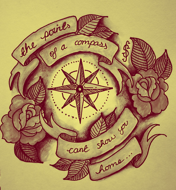 Tattoo Style Illustration, Compass, Quote, Roses, Banner