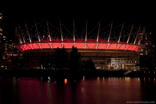 BC Place at night in red