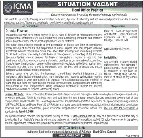 ICMA Director Finance Required