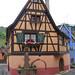 colombages,fleurs, puits et vignoble a Niedermorschwihr