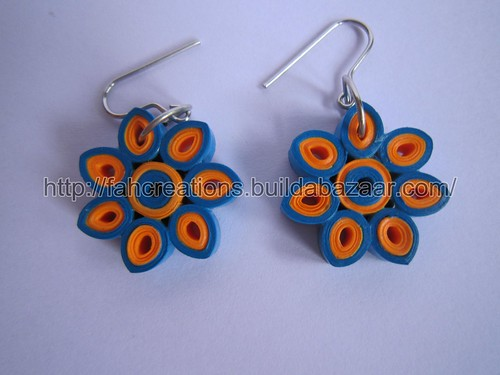 Handmade Jewelry - Paper Quilling Flower Earrings (Blue Orange 1) by fah2305