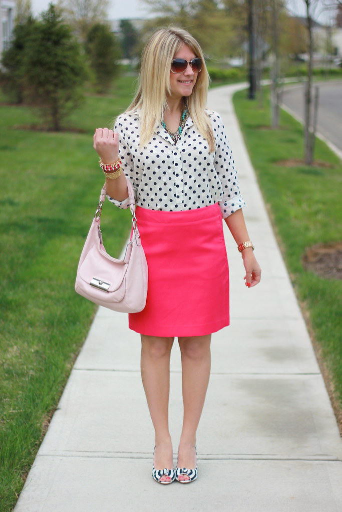 striped shoes and polka dot top work outfit