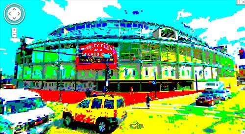 google maps 8bit streetview: Wrigley Field