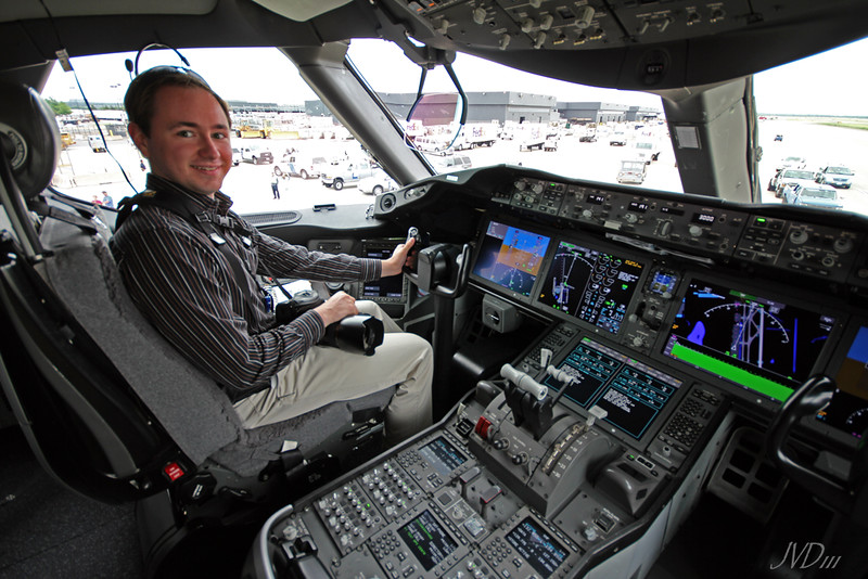 J. David Buerk in the 787 Cockpit; Photo by James Dingell III