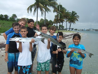 Group with barracudas.