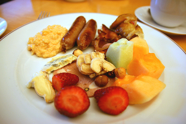 Breakfast - fresh fruit, cheeses, nuts, eggs, bacon and sausages