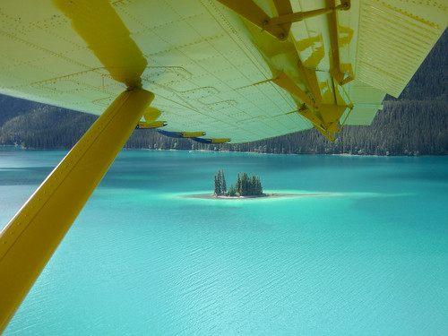 Landing on Muncho Lake in Urs's Twin Otter