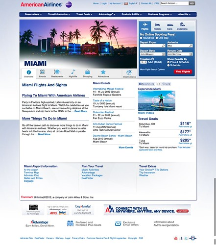 Miami destination page on the American Airlines website