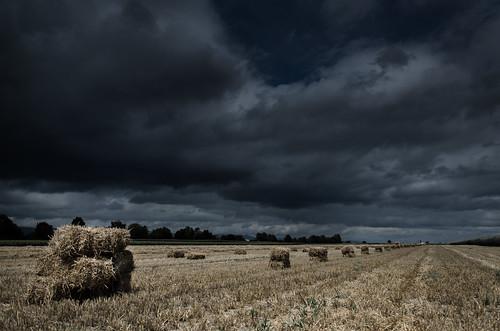 Bottes de paille sous un ciel orageux Paysage Désat2