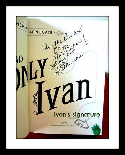Katherine Applegate and Ivan signed my copy of The One and Only Ivan
