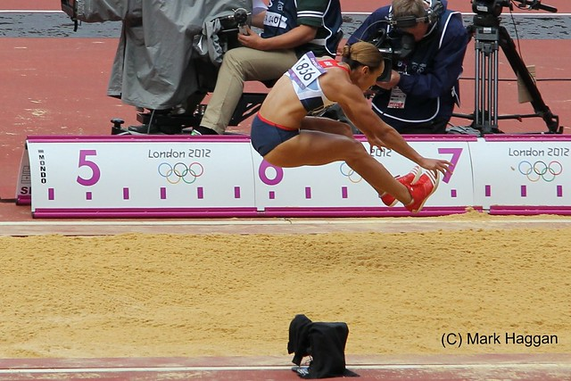 Jessica Ennis of Team GB in the long jump during the heptathlon at the London 2012 Olympics