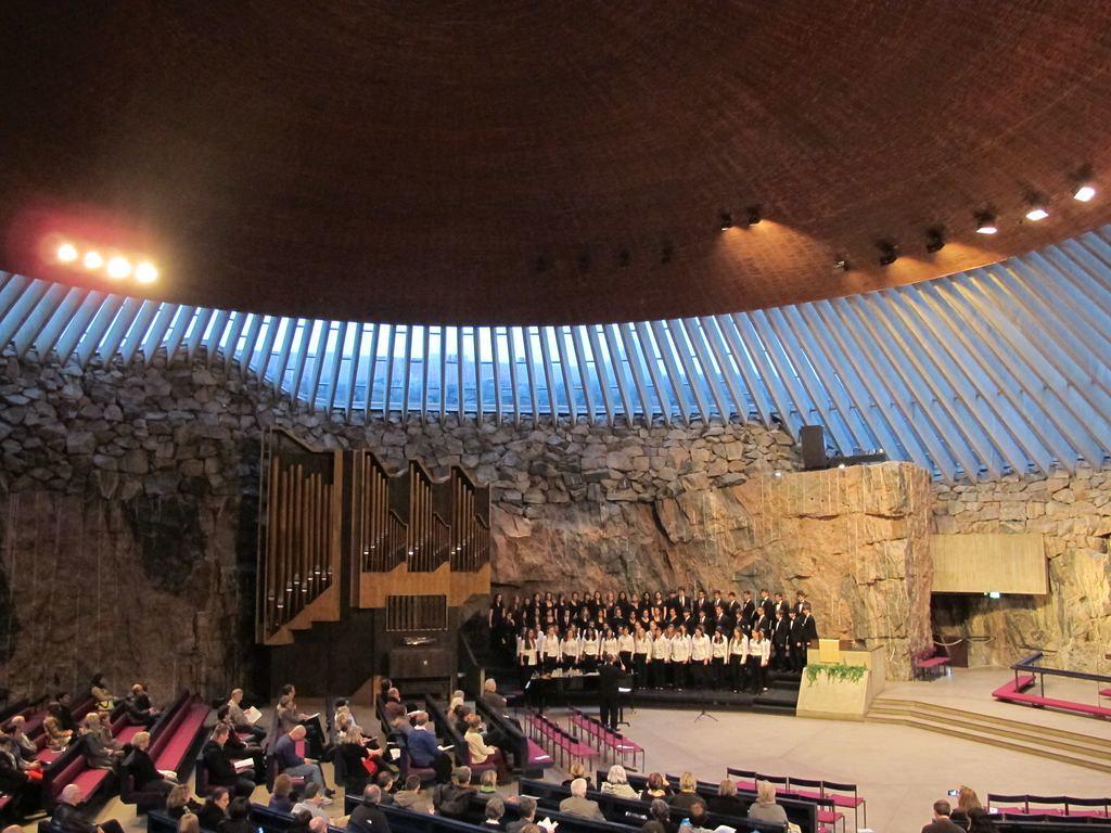 Lexington High School Choir performs in the Rock Church in Helsinki, Finland
